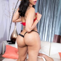 Spectacular ebony female Mary Jean whips out her enormous funbags and ass from sundress before sex