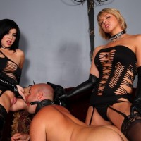Irresistible females Belle Noir and Brianna put a naked male submissive through his paces in revealing clothes