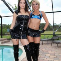 Seductive girls Daisy Haze and Marina Angel tease a masculine submissive that sports a innocence device