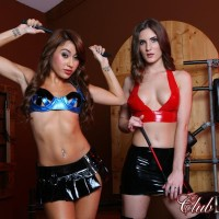 Enticing dolls Dava and Molly model fetish wear amid S/M AND S&M gear while in a dungeon