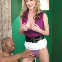 Uber-sexy grandma Janee Diamond seduces a younger black guy before sucking his BBC