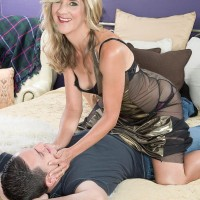 Sweet elderly doll Lauren De Wynter entices younger guy and gives him a blow job
