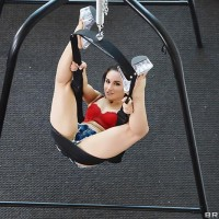 Jaw-dropping MILF Gabriella Paltrova holds her gorgeous bum while fucking on a sex swing