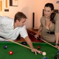 Seductive MILF Sensual Jane jugg pokes a man after shooting pool in black hosiery