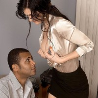 Wonderful senior lady Lake Russell entices a dude with a massive black cock in his pants