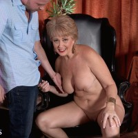 Tempting elder broad Tracy Suck is liberated from a taut sundress before having her hard nips blown