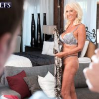 Seductive over 60 MILF Madison Milstar entices a junior man in her bra and panties
