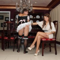 Provocative mistress Alison Starlet boinks her sissy with a strapon after witnessing him blow dick