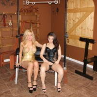 Kimber Forest and a jaw-dropping mistress pee into a bowl limited by a collared male slave