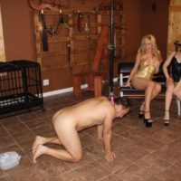 Kimber Forest and a stunning wife pee into a bowl restricted by a collared male submissive