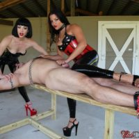 Spandex wearing Dominas Jean Bardot and Michelle Lacy torture a limited masculine submissive