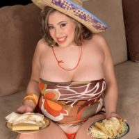 Latina chubber Selena Castro showing off her giant all-natural breasts during a titty fuck