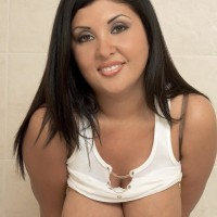 Latina MILF Daylene Rio bares her humungous funbags from moist t-shirt and brassiere