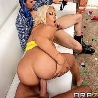 Latina pornostar Bridgette B slurping 2 humungous cocks before hard-core DOUBLE INVASION and popshot