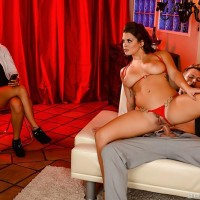 Latina X-rated actress Keisha Grey taking asshole sex in heels while girlfriend looks on