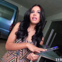 Latina teener Apolonia Lapiedra gets on top a guy's dick for a money