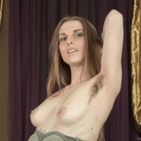 Lanky first-timer Donatella doffs pumps to demonstrate her hairy pits and thicket in the naked