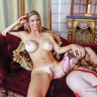 Gawky sandy-haired solo girl Alexis Fawx has her feet and vagina worshipped by a sissy