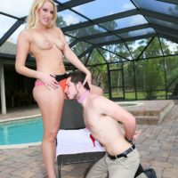 Lumbering fair-haired wife Vanessa Cell makes her hubby wear a dog collar while worshiping her