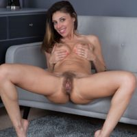 Long-legged brown-haired amateur Chloe R spreading furry cootchie after pantyhose removal