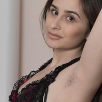 Lumbering European first timer Penelope Fiore vaunting hairy pits and spread cooch