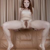 Long-legged European first-timer Ogil Basted slipping off underwear for vag exposure