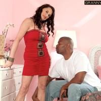 gangly granny Rita Daniels seduces a junior black man in a short crimson dress and stilettos