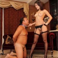Lanky nylon and high heel garmented girlfriend Missy Daniels demeaning subby spouse