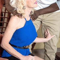 Gangly aged yellow-haired gal Cammille Austin prepping for sex with enormous black penis