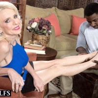 Gangly elderly fair-haired doll Cammille Austin preparing for sex with humungous ebony penis