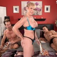 Tall over 50 ash-blonde MILF Honey Ray boinking 2 dudes with large penises in MMF Three way