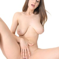 Lanky solo chick Stella Cox exposes her monster-sized all-natural fun bags as she strips to masturbate
