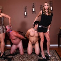 Lengthy legged women Cadence Lux and Brianna screw submissive men with strap on penises