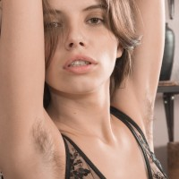 Lingerie attired first timer Christy freeing puny juggs and unshaven slit from lingerie