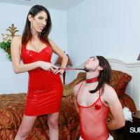 Lumbering gf Dava Foxx has her crossdressing sissy idolization her feet in a red sundress