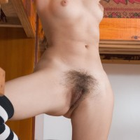 Long socks attired first-timer Vilma flaunting cute fun bags and hairy twat