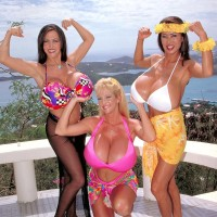Senior Japanese lady Minka and 2 girlfriends flash off their humungous breasts outdoors