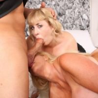 Mature sandy-haired BIG SEXY WOMAN Kayla Kleevage and a wife take part in a 3 way on a bed