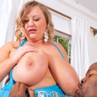 Mature blond BIG SEXY WOMAN Sienna Hills whips out massive melons before jacking a BIG EBONY COCK