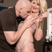 Aged blonde gal Kendall Rex displays her panties while seducing her son-in-law