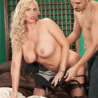 Aged yellow-haired MILF Karen Fisher is undressed of her lingerie and pantyhose by her paramour