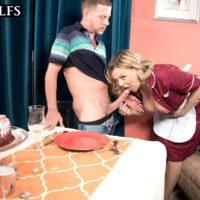 Older blonde broad Lena Lewis seduces a junior stud after baking him a cake