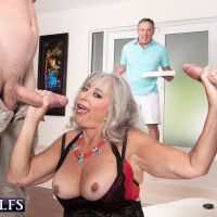 Aged doll Silva Foxx gives TWO dudes oral sex in front of her cuck spouse