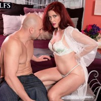 Older gal with crimson hair Dana Devereaux face sits her toy boy after giving a fellatio