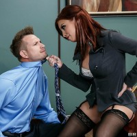 MILF pornographic star Britney Amber getting ass drilled garmented nylons on work environment desk