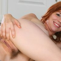 All natural redheaded first timer flaunting pointy knockers and cleanly smoothly-shaven cooter