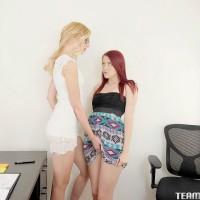 Nerdy teen lesbians Alexa and Joy buttons sucking and finger-tickling muffs in office