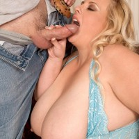 Plus-size golden-haired female Cassie Blanca uncovering humungous boobies before giving BLOW JOB while licking food