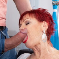 Old red-haired Caroline Hamsel deep-throats and plumbs a dude after he catches her masturbating