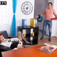 Old ginger-haired Caroline Hamsel bj's and plumbs a boy after he catches her masturbating